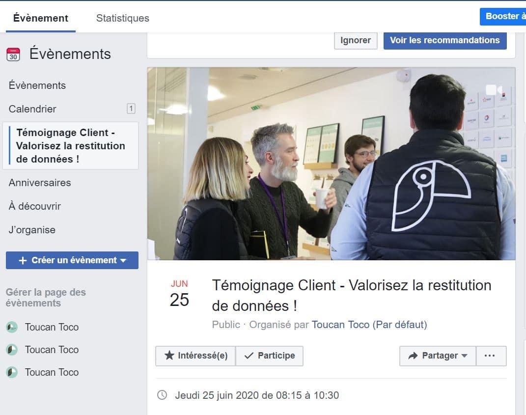 Event Facebook pour webinaire