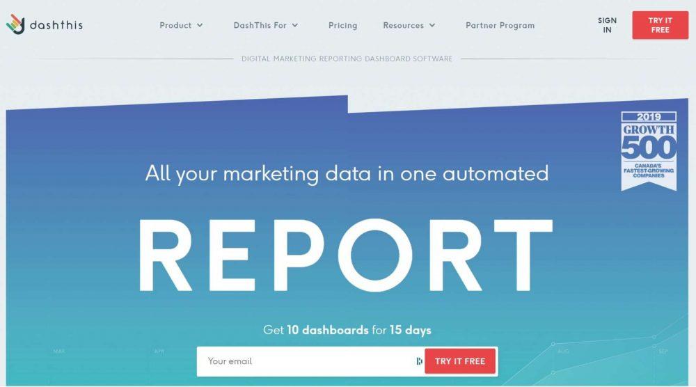 dashthis marketing dashboard