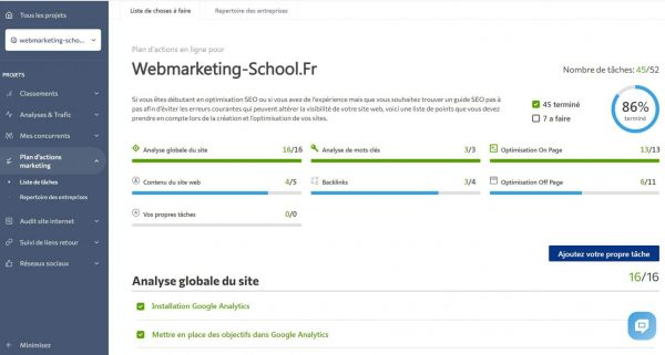 Plan SEO Webmarketing School
